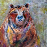 © Kim Hicks,24x30x2 inches,Acrylic Painting, Animal Whimsy,Mama Bear