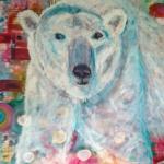 Kim Hicks,36x36x2 inches,Acrylic Painting, Animal Whimsy,Polar Bear Whimsy