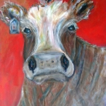 Kim Hicks,20x30x2 inches,Acrylic Painting,Whimsical Cow Series,Ms.Daisy