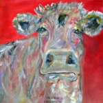 ©Kim Hicks,20x20x2 inches,Acrylic Painting,Whimsical Cow Series,Sam
