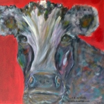 Kim Hicks,20x30x2 inches,Acrylic Painting,Whimsical Cow Series,Whimsical Jake