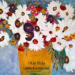 © Kim Hicks,40 x30x2 inches,Acrylic Painting, Scatter Joy Series,Daisy Days of Summer