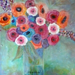Kim Hicks,24x30x2 inches,Acrylic Painting, Scatter Joy Series,Floral Number Eight