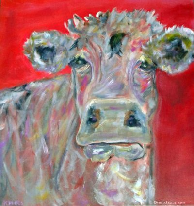 Kim Hicks Artist, Sam, Acrylic Cow Painting,24x30x2 in